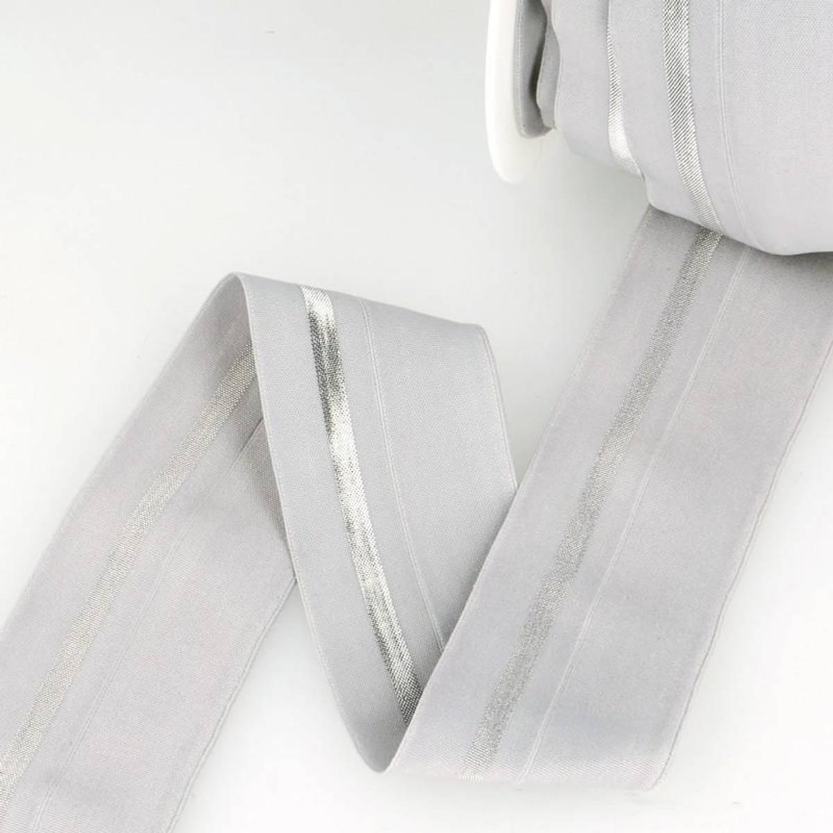 Foldeelastikk 40mm, grå/sølv